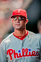 23 August 2018: Philadelphia Phillies Manager Gabe Kapler walks the dugout during a game against the Washington Nationals at Nationals Park in Washington, DC. The Phillies shut out the Nationals 2-0 to take the 3rd game of their 3-game mid-week divisional series. Mandatory Credit: Ed Wolfstein Photo *** RAW (NEF) Image File Available ***