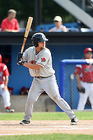 Connecticut Tigers second baseman Brett Pirtle (35) at bat during the second game of a doubleheader against the Batavia Muckdogs on July 20, 2014 at Dwyer Stadium in Batavia, New York.  Connecticut defeated Batavia 2-0.  (Mike Janes/Four Seam Images)