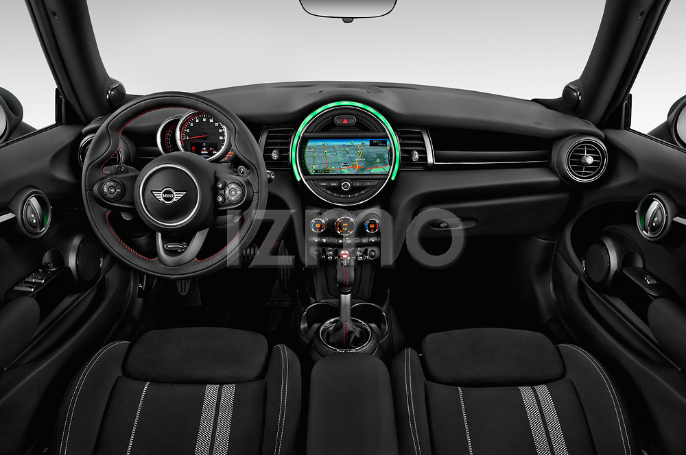 Stock photo of straight dashboard view of 2019 MINI Cooper John-Cooper-Works-Convertible Door Convertible Dashboard