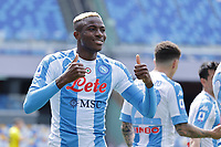 Victor Osimhen of SSC Napoli celebrates after scoring the goal of 1-0 during the Serie A football match between SSC Napoli and Cagliari Calcio at Diego Armando Maradona stadium in Napoli (Italy), May 02nd, 2021. <br /> Photo Cesare Purini / Insidefoto