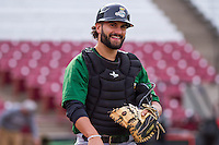 Clinton LumberKings catcher James Alfonso (12) prior to a Midwest League game against the Wisconsin Timber Rattlers on May 9th, 2016 at Fox Cities Stadium in Appleton, Wisconsin.  Clinton defeated Wisconsin 6-3. (Brad Krause/Four Seam Images)
