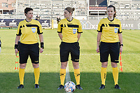 referee Viki De Cremer with her assistant referees Ella De Vries (L) and Joline Delcroix (R)  pictured during a female soccer game between Eendracht Aalst and Racing Genk on the fifth matchday of the 2020 - 2021 season of Belgian Scooore Womens Super League , Saturday 28 th of November 2020  in Aalst , Belgium . PHOTO SPORTPIX.BE | SPP | DIRK VUYLSTEKE