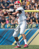 Youngstown State quarterback Hunter Wells. The Pitt Panthers football team defeated the Youngstown State Penguins 45-37 on Saturday, September 5, 2015 at Heinz Field, Pittsburgh, Pennsylvania.