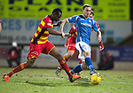 St Johnstone v Partick Thistle…02.03.16  SPFL McDiarmid Park, Perth<br />Chris Kane is closed down by Abdul Osman<br />Picture by Graeme Hart.<br />Copyright Perthshire Picture Agency<br />Tel: 01738 623350  Mobile: 07990 594431