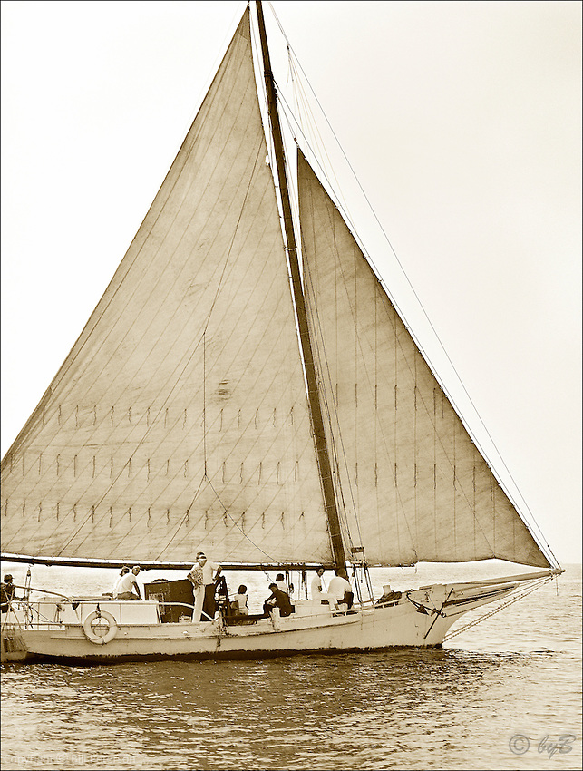 """Ida May ghosting along in this Fine Art, Limited Edition Skipjack print from the """"Skipjack Sunday"""" collection."""