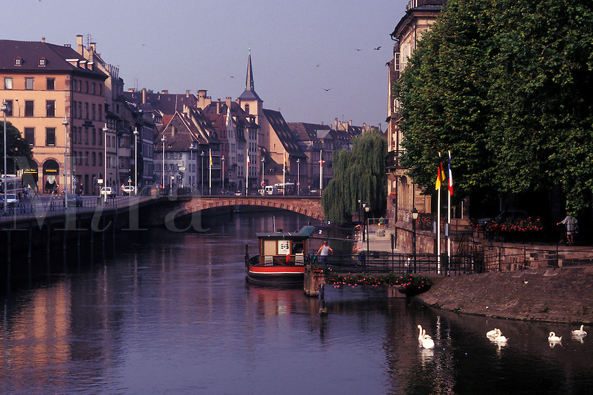 France, Alsace, Strasbourg, Bas-Rhin, Europe, wine region, Buildings along the Ill River in the city of Strasbourg, the capital of Bas-Rhin, in the wine region of Alsace.