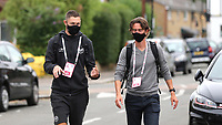 Henrik Dalgaard of Brentford and Manager, Thomas Frank discuss tactics as they arrive at the ground during Brentford vs Charlton Athletic, Sky Bet EFL Championship Football at Griffin Park on 7th July 2020