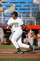 July 11th 2008:  Ernie Banks of the Jamestown Jammers, Class-A affiliate of the Florida Marlins, during a game at Russell Diethrick Park in Jamestown, NY.  Photo by:  Mike Janes/Four Seam Images