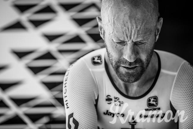 Canadian National TT Champion Svein Tuft (CAN/Mitchelton Scott) pre race warming up. <br /> <br /> Binckbank Tour 2018 (UCI World Tour)<br /> Stage 2: ITT Venray (NL) 12.7km