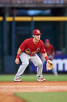 Palm Beach Cardinals second baseman Dylan Tice (8) during a game against the Bradenton Marauders on August 8, 2016 at McKechnie Field in Bradenton, Florida.  Bradenton defeated Palm Beach 5-4 in 11 innings.  (Mike Janes/Four Seam Images)
