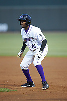 Luis Alexander Basabe (16) of the Winston-Salem Dash takes his lead off of first base against the Salem Red Sox at BB&T Ballpark on April 20, 2018 in Winston-Salem, North Carolina.  The Red Sox defeated the Dash 10-3.  (Brian Westerholt/Four Seam Images)
