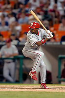 3 September 2005: Endy Chavez, outfielder for the Philadelphia Phillies, at bat during a game against the Washington Nationals. The Nationals defeated the Phillies 5-4 at RFK Stadium in Washington, DC. <br />