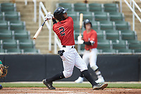 Lenyn Sosa (2) of the Kannapolis Intimidators follows through on his swing against the Lexington Legends at Kannapolis Intimidators Stadium on May 15, 2019 in Kannapolis, North Carolina. The Legends defeated the Intimidators 4-2. (Brian Westerholt/Four Seam Images)