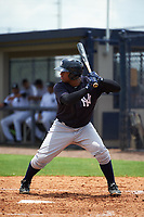 GCL Yankees East designated hitter Canaan Smith (22) at bat during the second game of a doubleheader against the GCL Yankees West on July 19, 2017 at the Yankees Minor League Complex in Tampa, Florida.  GCL Yankees West defeated the GCL Yankees East 3-1.  (Mike Janes/Four Seam Images)