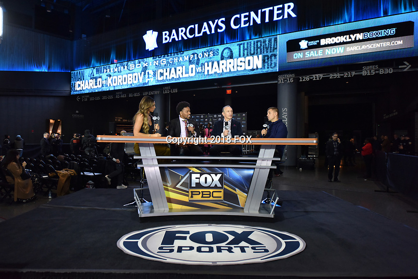 BROOKLYN, NY - DECEMBER 20: (L-R) Kate Abdo,  Shawn Porter and Ray Mancini interview boxer Matt Korobov on set as they attend the Fox Sports and Premier Boxing Champions press conference for the December 22 Fox PBC Fight Night at the Barclay Center on December 20, 2018 in Brooklyn, New York. (Photo by Anthony Behar/Fox Sports/PictureGroup)