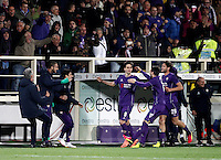 Calcio, Serie A: Fiorentina vs Juventus. Firenze, stadio Artemio Franchi, 24 aprile 2016.<br /> Fiorentina's Nikola Kalinic, center, celebrates with teammates after scoring during the Italian Serie A football match between Fiorentina and Juventus at Florence's Artemio Franchi stadium, 24 April 2016. <br /> UPDATE IMAGES PRESS/Isabella Bonotto