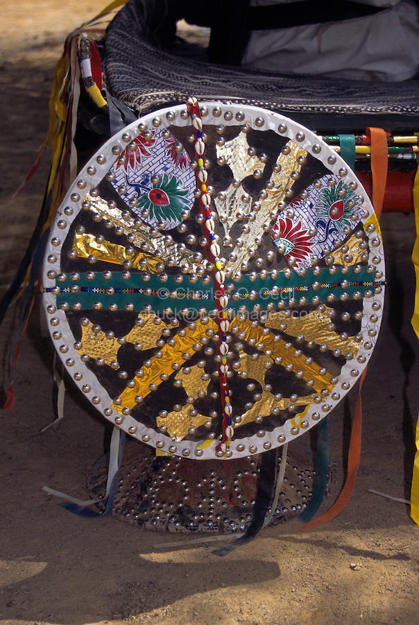 Akadaney, Central Niger, West Africa.  Fulani Nomads.  Decoration on Portable Bed Corner Post.