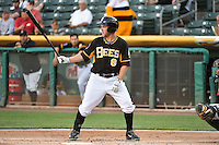 Taylor Lindsey (8) of the Salt Lake Bees at bat against the Albuquerque Isotopes at Smith's Ballpark on May 21, 2014 in Salt Lake City, Utah.  (Stephen Smith/Four Seam Images)