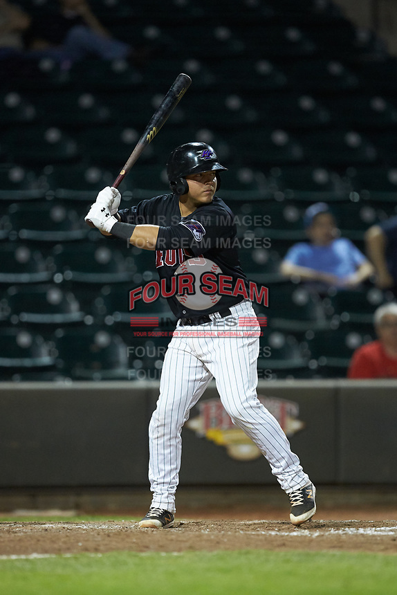 Carlos Perez (14) of the Winston-Salem Dash at bat against the Wilmington Blue Rocks at BB&T Ballpark on April 17, 2019 in Winston-Salem, North Carolina. The Blue Rocks defeated the Dash 2-1. (Brian Westerholt/Four Seam Images)