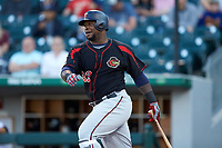 Miguel Sano (32) of the Rochester Red Wings follows through on his swing against the Charlotte Knights at BB&T BallPark on May 14, 2019 in Charlotte, North Carolina. The Knights defeated the Red Wings 13-7. (Brian Westerholt/Four Seam Images)