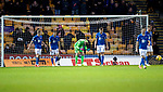Motherwell v St Johnstone…..30.11.19   Fir Park   SPFL<br />Zander Clark reacts as the saints defence conceeds the second goal<br />Picture by Graeme Hart.<br />Copyright Perthshire Picture Agency<br />Tel: 01738 623350  Mobile: 07990 594431