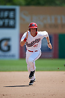 Auburn Doubledays designated hitter Jonathan Pryor (31) running the bases during the first game of a doubleheader against the Mahoning Valley Scrappers on July 2, 2017 at Falcon Park in Auburn, New York.  Mahoning Valley defeated Auburn 3-0.  (Mike Janes/Four Seam Images)