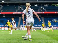 SOLNA, SWEDEN - APRIL 10: Lindsey Horan #9 of the USWNT controls the ball during a game between Sweden and USWNT at Friends Arena on April 10, 2021 in Solna, Sweden.