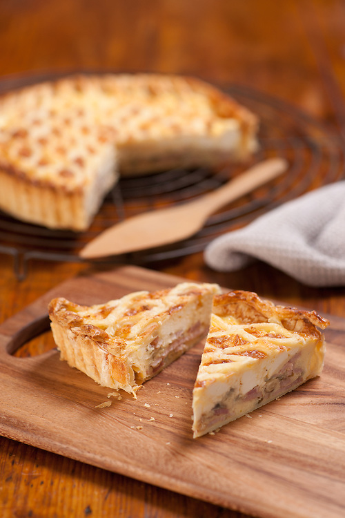 Winter warmer egg and bacon pie.
