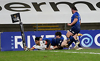 6 March 2021; Robert Baloucoune scores Ulster's second try during the Guinness PRO14 match between Ulster and Leinster at Kingspan Stadium in Belfast. Photo by John Dickson/Dicksondigital
