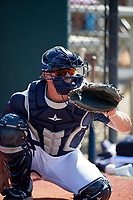 Detroit Tigers catcher Cooper Johnson (28) warms up pitchers in the bullpen during an Instructional League game against the Philadelphia Phillies on September 19, 2019 at Tigertown in Lakeland, Florida.  (Mike Janes/Four Seam Images)