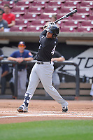 Quad Cities River Bandits center fielder Wander Franco (4) swings during a game against the Wisconsin Timber Rattlers at Fox Cities Stadium on June 27, 2017 in Appleton, Wisconsin.  Wisconsin lost 6-5.  (Dennis Hubbard/Four Seam Images)
