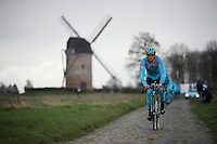 Lars Boom (NLD/Astana) in sector 7: Templeuve (Moulin-de-Vertain) during recon of the 114th Paris - Roubaix 2016