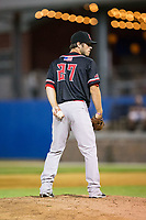 New Jersey Jackals relief pitcher Evan DeLuca (27) looks to his catcher for the sign against the Sussex County Miners at Skylands Stadium on July 29, 2017 in Augusta, New Jersey.  The Miners defeated the Jackals 7-0.  (Brian Westerholt/Four Seam Images)