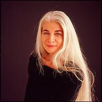 Studio portrait of older woman