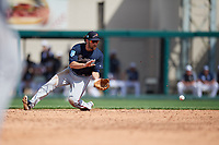 Atlanta Braves second baseman Charlie Culberson (8) prepares to field a ground ball during a Grapefruit League Spring Training game against the Detroit Tigers on March 2, 2019 at Publix Field at Joker Marchant Stadium in Lakeland, Florida.  Tigers defeated the Braves 7-4.  (Mike Janes/Four Seam Images)