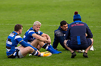 Bath Rugby's Rhys Priestland, Bath Rugby's Josh Matavesi and Bath Rugby's Ben Spencer after the final whistle<br /> <br /> Photographer Bob Bradford/CameraSport<br /> <br /> Gallagher Premiership Round 1 - Bath Rugby v Newcastle Falcons - Saturday 21st November 2020 - The Recreation Ground - Bath<br /> <br /> World Copyright © 2020 CameraSport. All rights reserved. 43 Linden Ave. Countesthorpe. Leicester. England. LE8 5PG - Tel: +44 (0) 116 277 4147 - admin@camerasport.com - www.camerasport.com