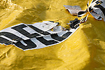 Yellow mass casualty transport incident blanket worn with words Delayed
