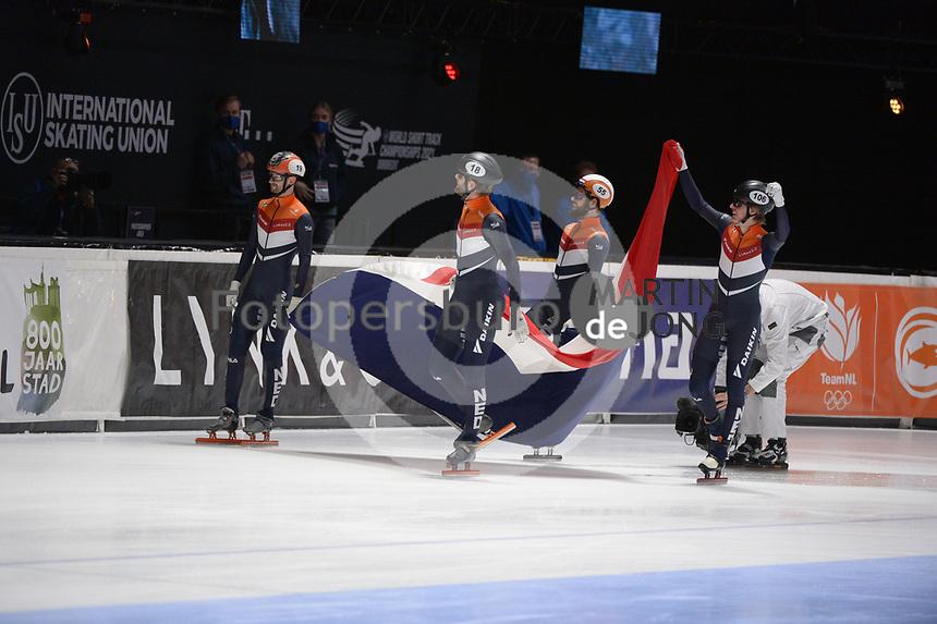 SPEEDSKATING: DORDRECHT: 07-03-2021, ISU World Short Track Speedskating Championships, Final A 5000m Relay, Itzhak de Laat, Sjinkie Knegt, Daan Breeuwsma, Jens van 't Wout (NED), ©photo Martin de Jong