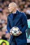 Manager Zinedine Zidane of Real Madrid reacts during the UEFA Champions League 2017-18 quarter-finals (2nd leg) match between Real Madrid and Juventus at Estadio Santiago Bernabeu on 11 April 2018 in Madrid, Spain. Photo by Diego Souto / Power Sport Images