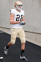 Austin Collinsworth takes the field. The Notre Dame Fighting Irish defeated the Pitt Panthers 15-12 at Heinz field in Pittsburgh, Pennsylvania on September 24, 2011.