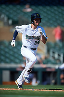 Surprise Saguaros Brandon Wagner (24), of the New York Yankees organization, runs to first base during the Arizona Fall League Championship Game against the Salt River Rafters on October 26, 2019 at Salt River Fields at Talking Stick in Scottsdale, Arizona. The Rafters defeated the Saguaros 5-1. (Zachary Lucy/Four Seam Images)