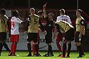 Roarie Deacon of Stevenage (l) is shown the red card by referee James Adcock<br />  - Stevenage v Leyton Orient - Johnstone's Paint Trophy - Southern Section Quarter-final  - Lamex Stadium, Stevenage - 12th November, 2013<br />  © Kevin Coleman 2013