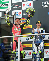 Winner Shane Byrne of Be Wiser Ducati Racing Team on the podium with second place Christian Iddon of Tyco BMW Motorrad (Right) after race two of the MCE British Superbikes in Association with Pirelli round 12 2017 - BRANDS HATCH (GP) at Brands Hatch, Longfield, England on 15 October 2017. Photo by Alan  Stanford / PRiME Media Images.