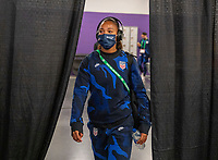 ORLANDO, FL - FEBRUARY 24: Margaret Purce #20 of the USWNT arrives at the stadium before a game between Argentina and USWNT at Exploria Stadium on February 24, 2021 in Orlando, Florida.