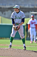 Notre Dame Fighting Irish pitcher Joey Cresta (21) prepares to deliver a pitch during a game against the Clemson Tigers during game one of a double headers at Doug Kingsmore Stadium March 14, 2015 in Clemson, South Carolina. The Tigers defeated the Fighting Irish 6-1. (Tony Farlow/Four Seam Images)