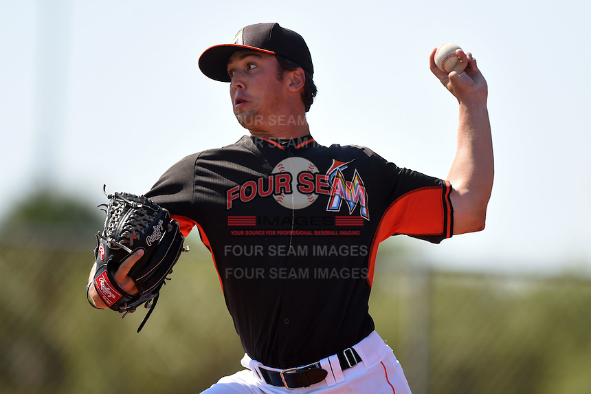 Miami Marlins pitcher Michael Mader (45) before a minor league spring training game against the St. Louis Cardinals on March 31, 2015 at the Roger Dean Complex in Jupiter, Florida.  (Mike Janes/Four Seam Images)