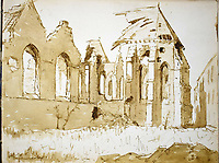 BNPS.co.uk (01202 558833)<br /> Pic: StroudAuctions/BNPS<br /> <br /> Pictured: Captain Theodore drew landmarks including churches which were reduced to rubble deadly barrages.<br /> <br /> The poignant sketchbook of a World War One surgeon has been unearthed a century later.<br /> <br /> Captain Theodore Howard Somervell, of the Royal Medical Corps, treated hundreds of wounded Tommies in a field hospital at the Battle of the Somme.<br /> <br /> He was one of just four surgeons working flat-out in a tent, as scores of casualties lay dying on stretchers outside on the bloodiest in British military history.<br /> <br /> There is a sombre pencil sketch of a soldier on the operating table surrounded by a nurse and doctors. Another watercolour shows the bodies of soldiers strewn on a boggy Western Front battlefield.