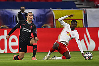 16th February 2021, Puskas Arena, Budapest, Hungary;  Champions League Round of 16 first leg in Budapest, RB Leipzig versus Liverpool;  Thiago Alcantara FC Liverpool challenged by Amadou Haidara RB Leipzig