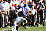 Oklahoma State Cowboys wide receiver David Glidden (13) and TCU Horned Frogs safety Sam Carter (17) in action during the game between the OSU Cowboys and the TCU Horned Frogs at the Amon G. Carter Stadium in Fort Worth, Texas. TCU defeated OSU 42 to 9.