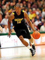 30 January 2010: University at Albany Great Danes' forward Scotty McRae, a Senior from Queens, NY, in action against the University of Vermont Catamounts at Patrick Gymnasium in Burlington, Vermont. The Catamounts defeated the Danes 64-46 in the America East matchup. Mandatory Credit: Ed Wolfstein Photo